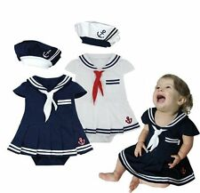 Baby Girl Halloween Sailor Fancy Party Costume Dress Outfit Cloth+HAT Set 3-24M