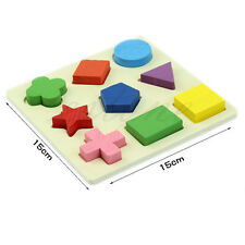 Baby Kids Wooden Learning Educational Toy Geometry Block Puzzle Montessori Early