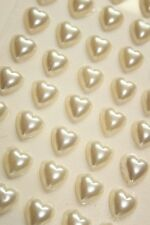 100 10mm Pearl Rhinestone Self Adhesive stick on Hearts (Silver, white or Ivory)