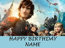 A4 HOW TO TRAIN YOUR DRAGON  PERSONALISED CAKE TOPPER ON ICING OR WAFER PAPER