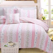 Pink Romantic Embroidered Chic Lace 100% Cotton Quilt Set