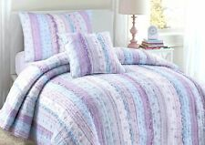 Lilac Romantic Embroidered Chic Lace 100% Cotton Quilt Set