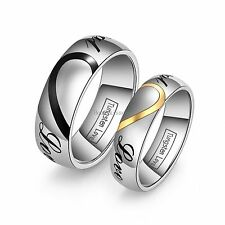 """Heart Shape Tungsten Carbide Promise Ring """" Real Love """" Engagement Wedding Band"""