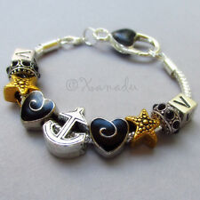 Vanderbilt University European Charm Bracelet With Black And Gold Beads