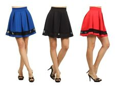 Sexy Solid Colors Mesh Flirty A-Line Pleated Flared High Waist Peplum Mini Skirt