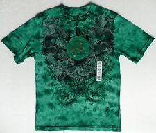 New Boys tie dye green gold Chinese dragon T-shirt fighting koi fish sz M, L, XL