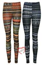 Womans Knitted Aztec Tribal Floral Print Full Length Legging Ladies Trouser