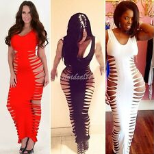 Sexy Fish Bone Laser Cut Out Sleeveless Full Length Maxi Club Dress 3 Colors