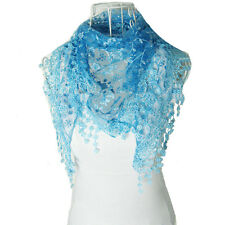 Autumn Summer Women Embroidery Rose Lace Triangle Pendant Scarf Shawls Wraps HOT
