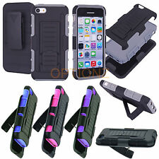 3IN1 RUGGED ARMOR CASE & BELT CLIP HOLSTER KICKSTAND COVER FOR APPLE IPHONE 5C