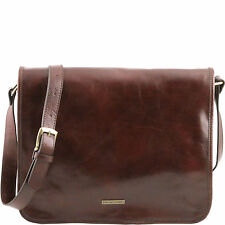 TUSCANY LEATHER messenger leather shoulder bag two compartments Made in Italy