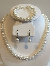 Kids Wedding Flower Girl Pagent or Adult Pearl 3pcs Necklace Set