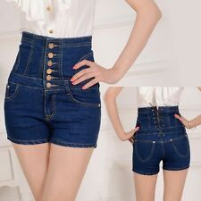 Hot Women's High Waist Skinny breasted Jeans plain coloured Jeans short pants