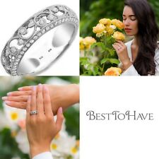 925 Silver Ladies Created Diamonds Unique Wedding Engagement Bridal Band Ring