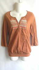 NWT LUCKY BRAND BROWN TUNIC EMBROIDERED STRETCH  XSMALL, SMALL, MEDIUM, LARGE