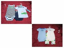 Carters infant Baby Boy Girl 3 pc outfit set Bodysuit, Creeper  sz:6,12 Mo NWT
