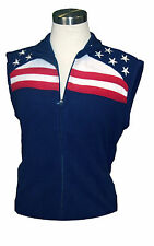 Ladies Fleece sleeveless Vest Rockpoint Stars Stripes Blue Womens Cute Patriotic