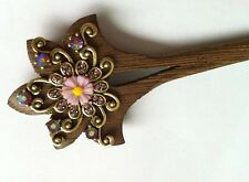 Free shipping wood hair stick,Rhinestone hairclip,with nice flower,stones around