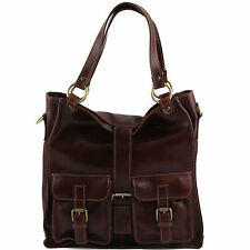 TUSCANY LEATHER shoulder artisan bag with front pockets made in Italy