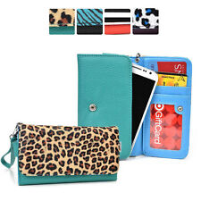 [M] Faux Leather Patterned Wristlet Wallet Case Cover fits Motorola Cell-Phone