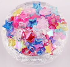 50pcs Star Shaped Pentacle-Shape AB Color Acrylic Spacer Beads Mixed Color NEW