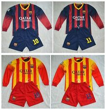 2013-2014 FCB Long sleeve  shirt and short  3-14 years with any Name+Number