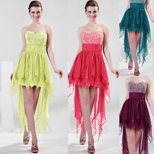Fashion High-Low Beaded Chiffon Evening Formal Party Ball Gown Prom Bridal Dress