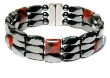 Mens Womens Magnetic Hematite Bracelet / Anklet POPPY JASPER Super Strong 3 ROWS