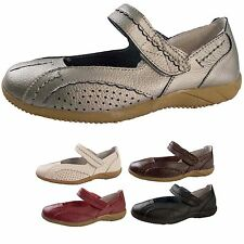 Womens Leather Casual Comfort Mary Jane Flat Velcro Shoes Ladies Size UK 3 -  8