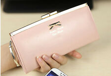 Women Leather Long Cute Korean Pink Bow Wallets Clutch Purses Free Shipping