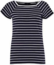 French Connection Tim Tim Striped T-Shirt Top Utility Dark Blue/White - UK 8-14