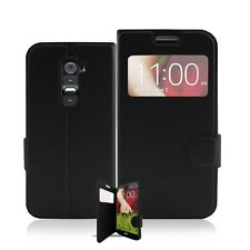 Luxury Slim Flip View Window Leather Gel Pouch Cover Case For LG G2
