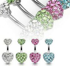 Crystal Heart Shape Rhinestone Body Piercing Belly Button Navel Ring Bar Barbell