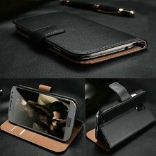 Genuine Real Leather Magnetic Flip Wallet Case Cover For iPhone Samsung Sony LG