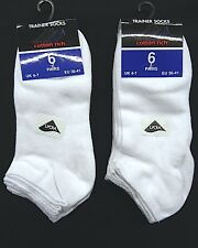 Ladies Trainer Ankle White Socks with LYCRA - 6 OR 12 PAIRS - UK 4-7, EUR 36-41