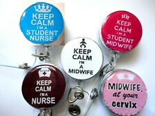 Keep Calm I'm a midwife nurse cervix student Recoil ID Badge Card Holder Reel