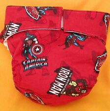 AIO (All In One) Adult Baby Reusable Cloth Diaper S,M,L,XL 3 Super Heroes on Red