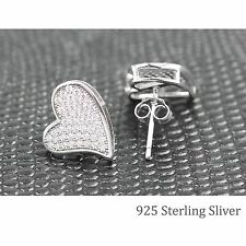 Sterling Silver Micro-Pave Cubic Zirconia CZ Crystal Heart Stud Earrings in 925