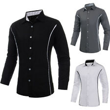 FASHION Uomo Slim Fit Manica Lunga Camicia Dress Shirt Polos XS S M L XL