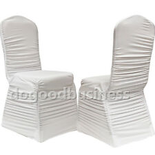 Ruches white high Quality white fold spandex chair covers for wedding Decoration