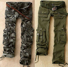 Fashion Womens Military Army Green Cargo Pocket Pants Leisure Trousers Outdoor
