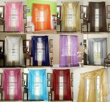 "36 Window Treatment Sheer Curtain Panels 84"" and Scarves Valance 216"""