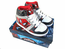 Spiderman High Top Boots/Trainers/Pumps By Marvel Lace Up UK7 Infant - UK1 Large
