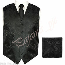Black XS to 6XL Paisley Tuxedo Suit Dress Vest Waistcoat & Neck tie & And Hankie