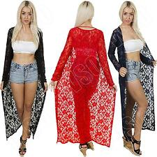 New Womens Ladies Long Floral Lace Summer Waterfall Kimono Cardigan Size 8 10 12