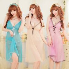 Women Sexy Lingerie BabyDoll Sleepwear Long Nightgown Dress Nightwear+G-String