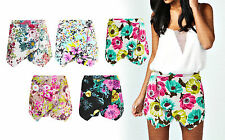 Ladies New Floral Tropical Printed Festival Summer Skorts Shorts Skirt Size 6-12