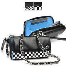Kroo Bicast Leather Crossbody Purse Wristlet Clutch fits Sprint T-Mobile Cell