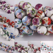 20Pcs Round Flower Designs Ceramic Spacer Beads Porcelain Finding Charm10mm