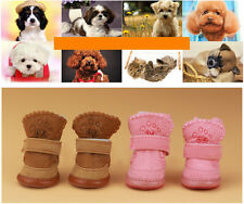 Cute Warm Winter Cozy Pet Dog Boots Puppy Shoes 2 Color For Small Dog 5 Size